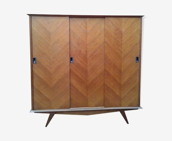 armoire 3 portes coulissantes vintage pieds compas bois. Black Bedroom Furniture Sets. Home Design Ideas