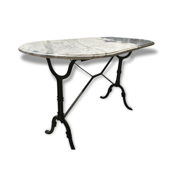 Table bistrot parisienne plateau marbre . Terrasse, jardin, balcon. -  marble - grey - good condition - art deco - luwvHf0