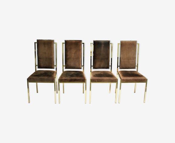 Ensemble de 4 chaises de salle à manger en laiton par Romeo Rega, années 1970