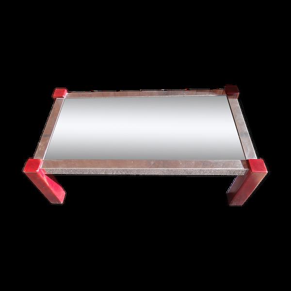 Table basse 70s bois et métal