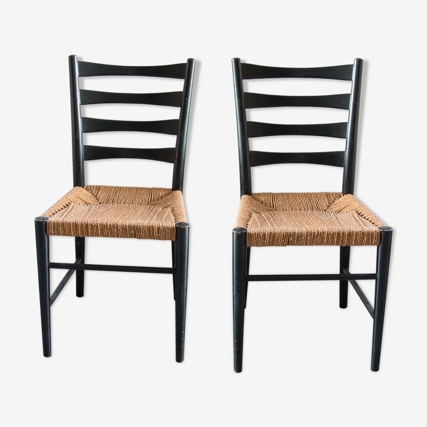 Black wooden chairs and strings, 60 years