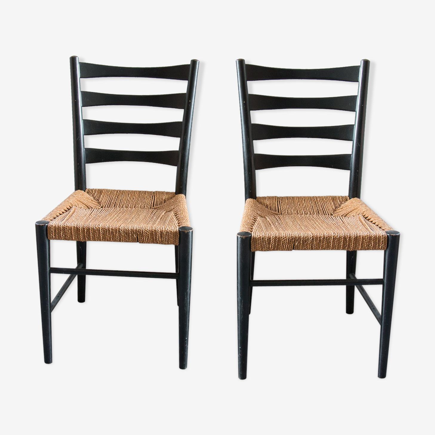 Chaises en bois noir et cordes, années 60