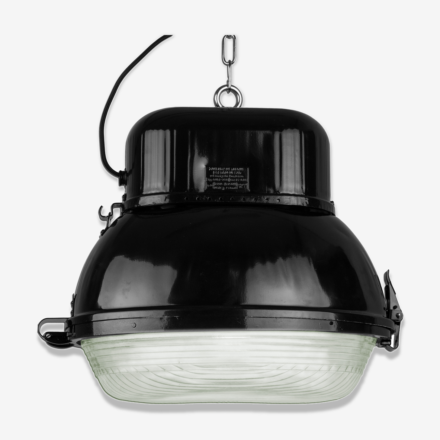 Industrial hanging lamp in black from Mesko, 1960