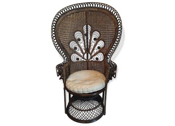 fauteuil emmanuelle pour adulte rotin et osier marron vintage 85271. Black Bedroom Furniture Sets. Home Design Ideas