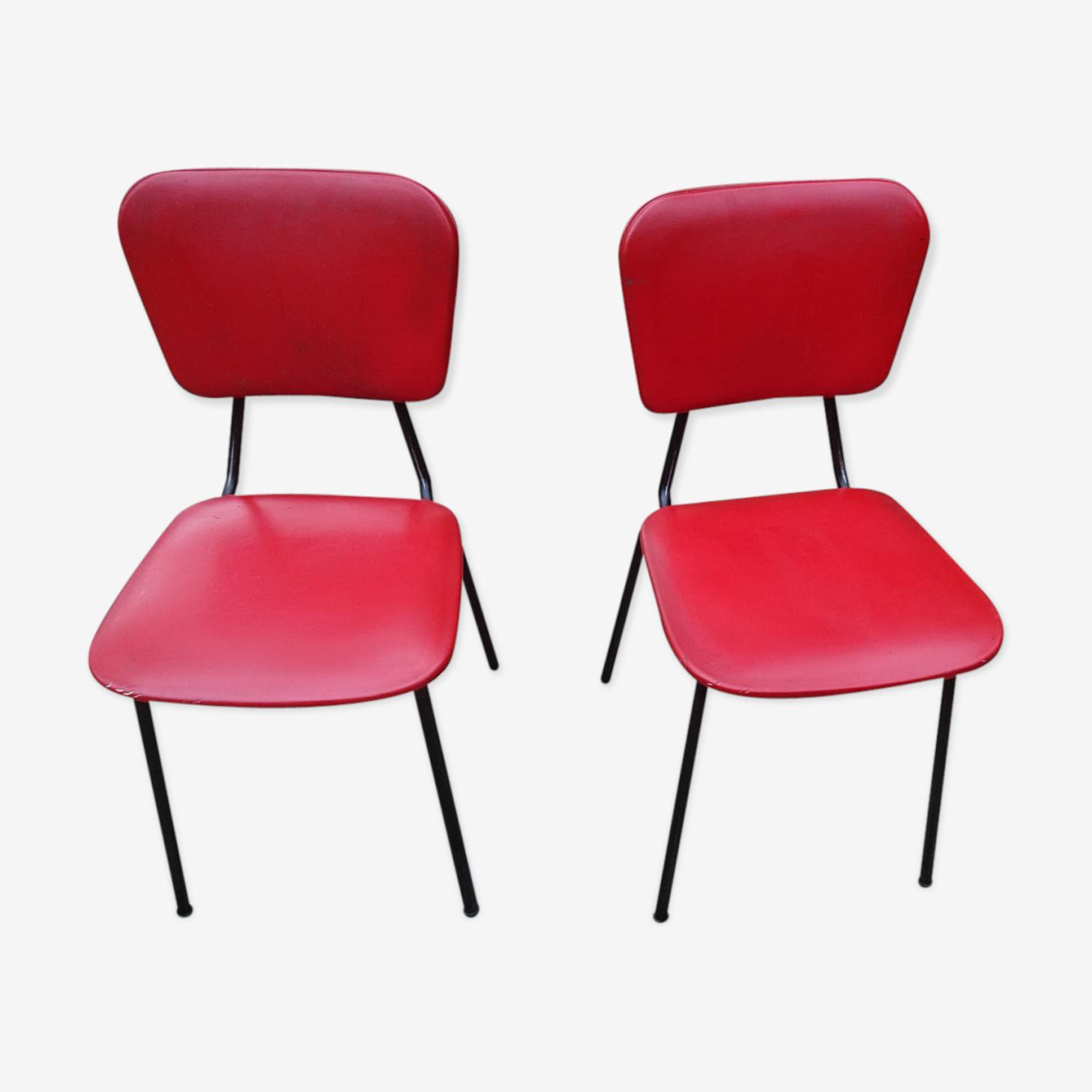 Paire de chaises années 1970 acier et skaï rouge
