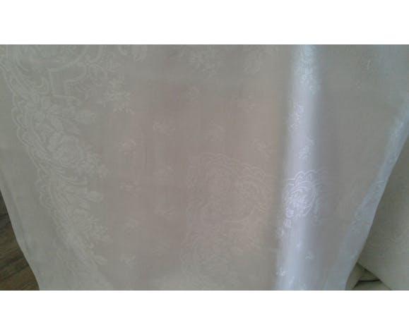 Nappe ancienne tissus damassé lin soie monogramme lc