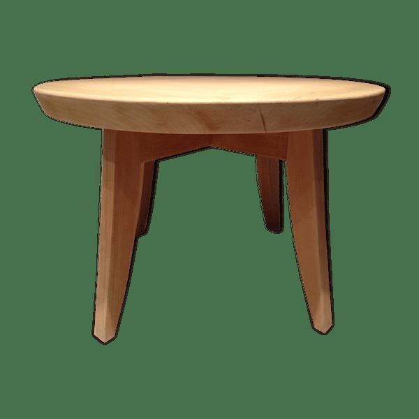 Table basse ronde en hêtre massif des années 50 pieds compas - bois ...