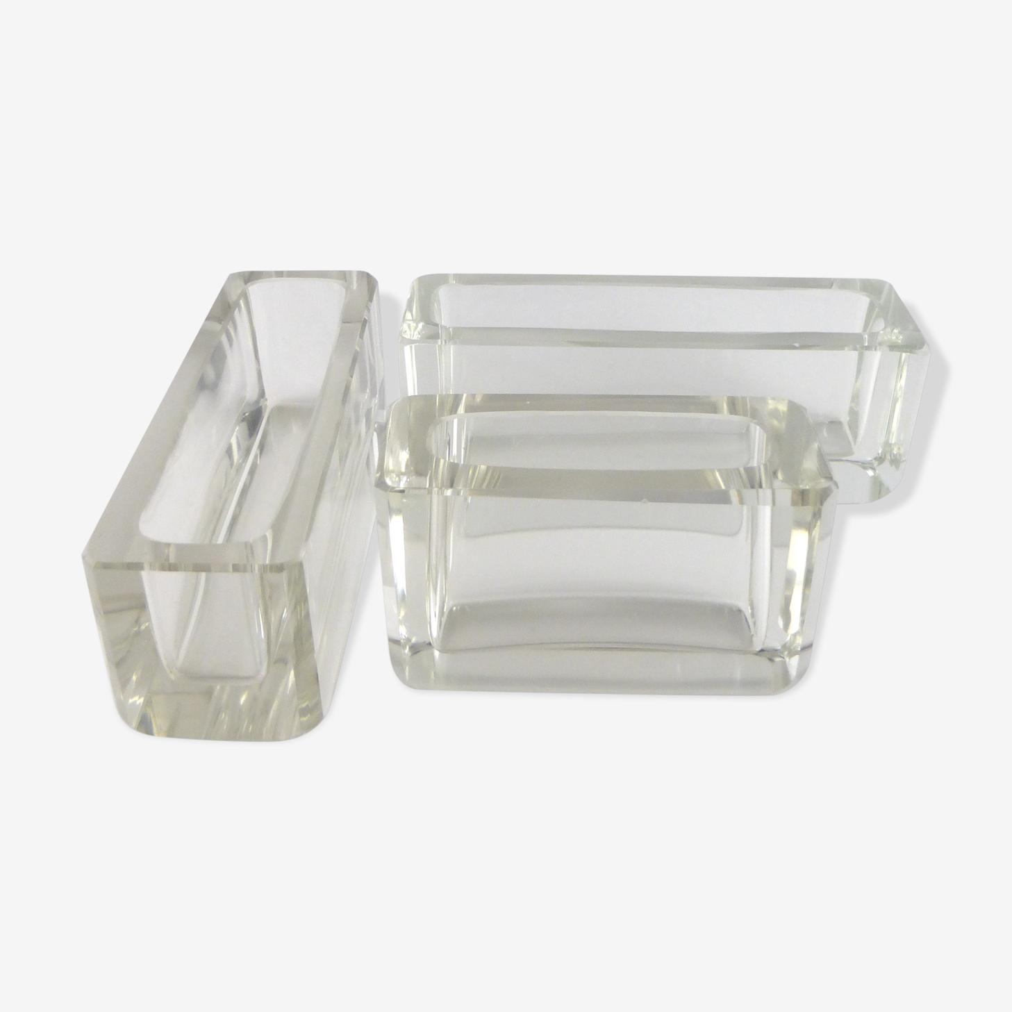 Suite de 3 vase 'centre-de-table' en cristal