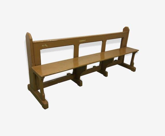 banc d 39 glise en sapin bois mat riau bois couleur art d co b9bjkpj. Black Bedroom Furniture Sets. Home Design Ideas