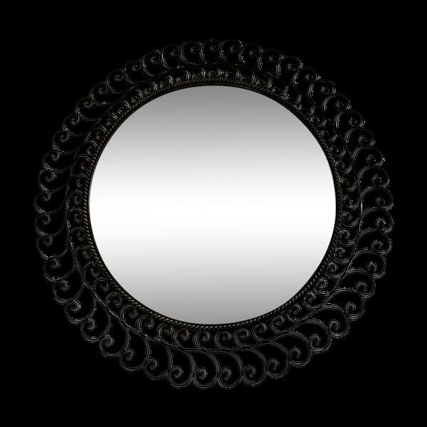 Miroir rond en métal laqué noir