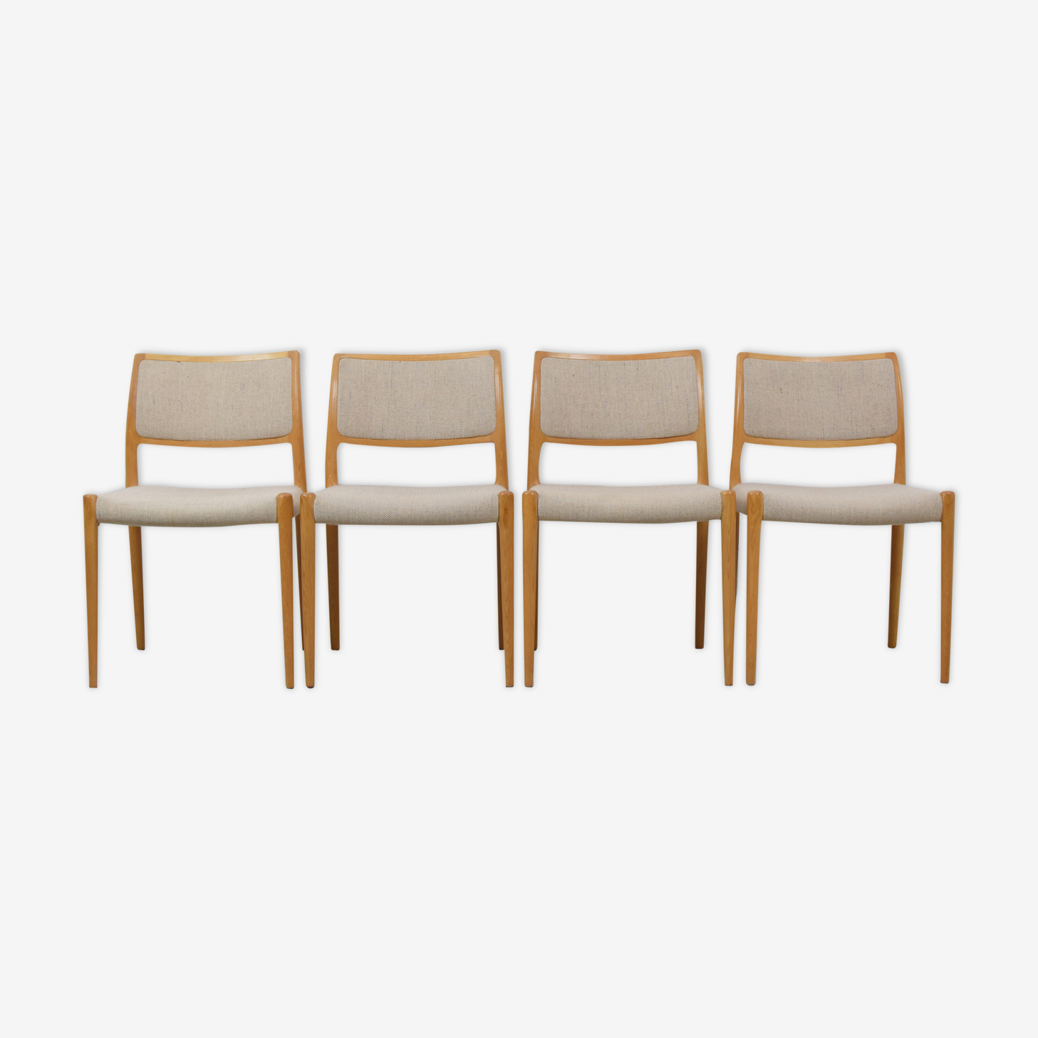 Set of four 'Model 80' chairs by Niels Otto Møller, Denmark 1950's.
