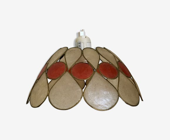 Vintage mother-of-pearl and two-coloured brass hanging lamp