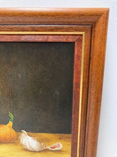 Peinture à l'huile aux oeufs oignon ail et clef
