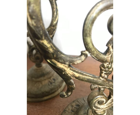 Paire de bougeoirs en bronze doré XIXème