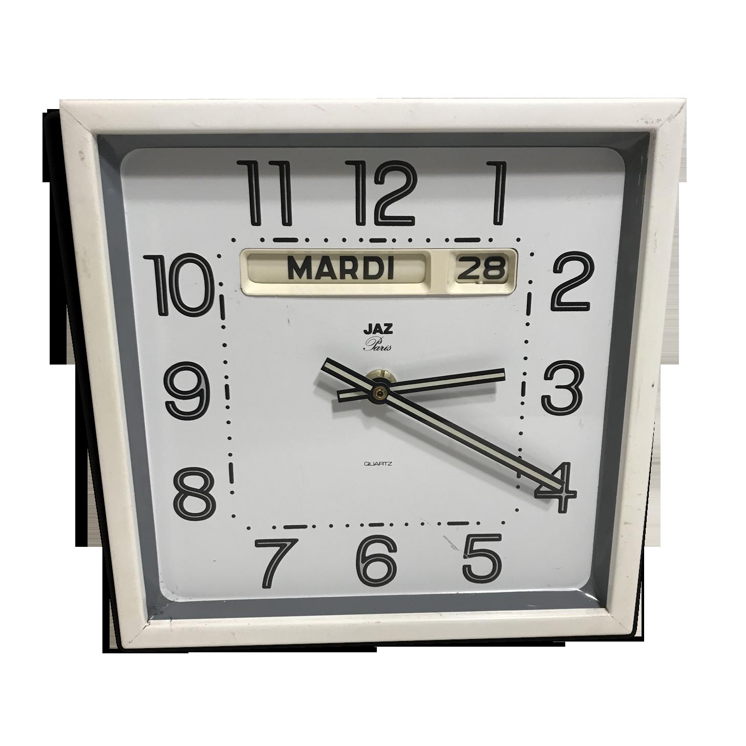Horloge pendule vintage m/étal blanche