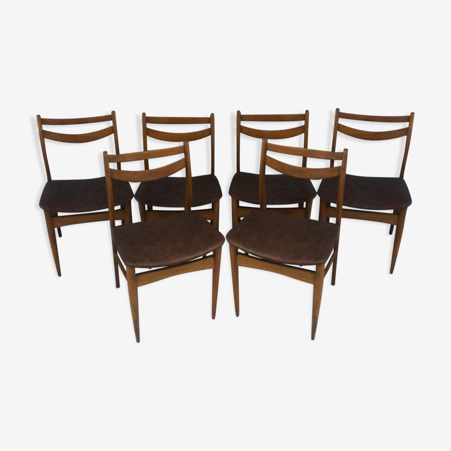 Série de 6 chaises aux lignes épurées