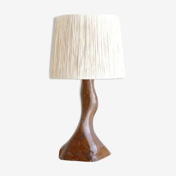 Wooden lamp, free form, raffia lampshade, years 50