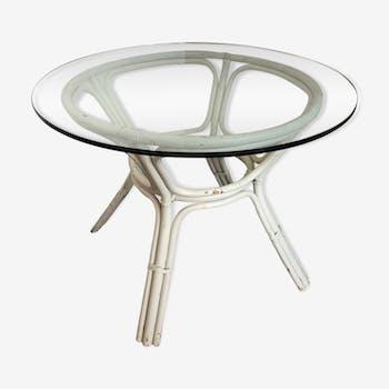 Table ronde verre rotin blanc