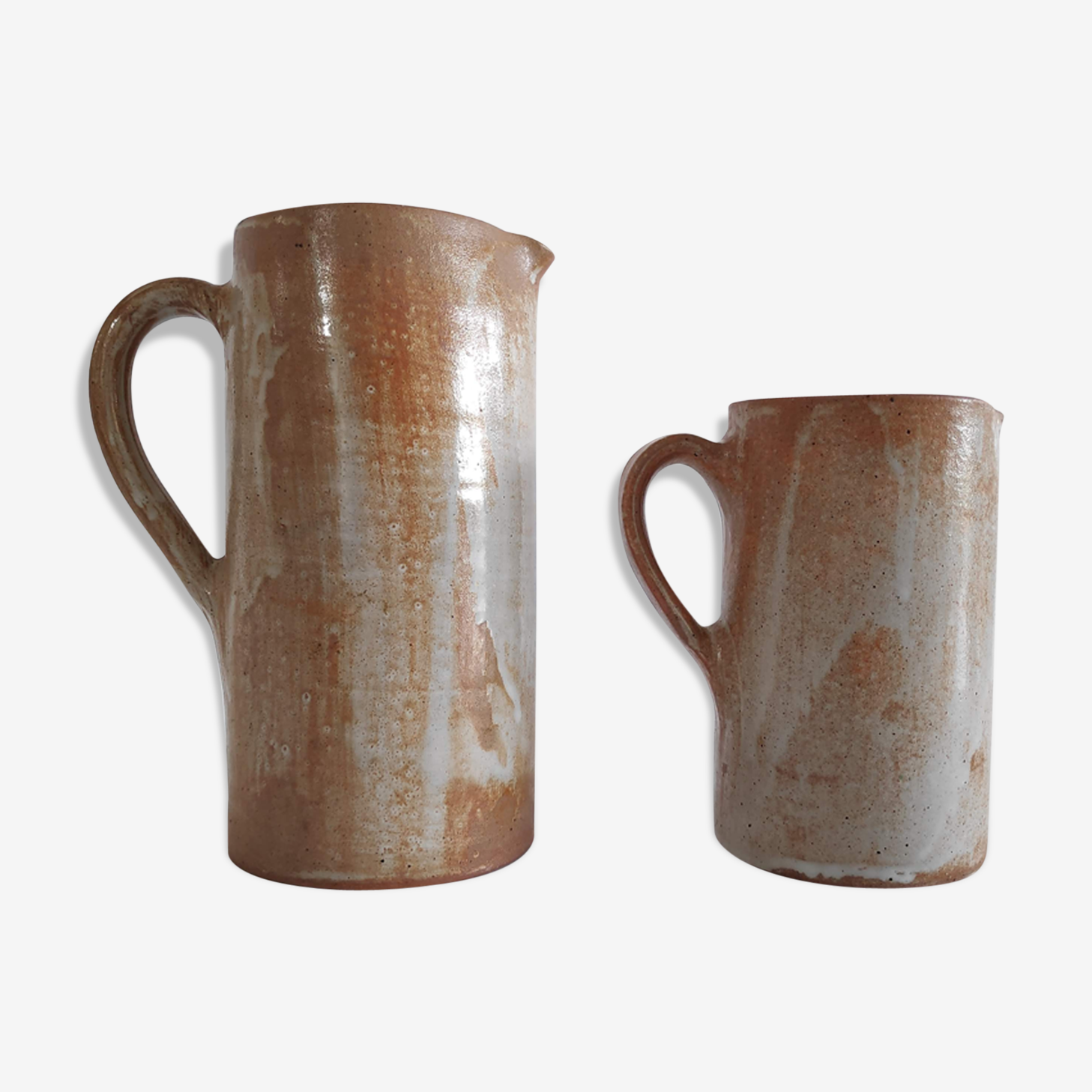 Pair of pitchers in glazed stoneware vintage rose 60s