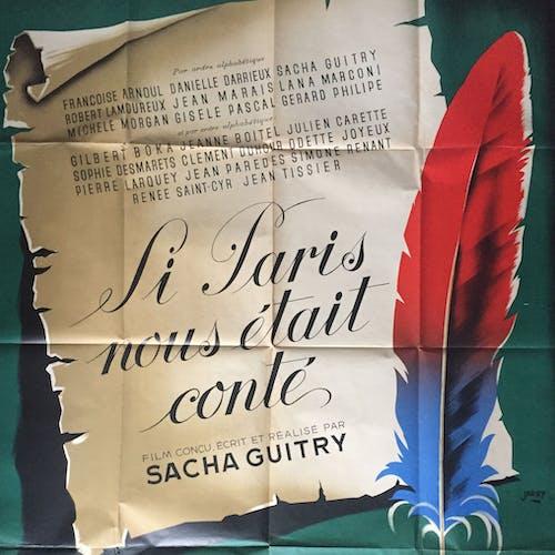 """Affiche cinéma """"Si Paris nous était conté"""" Sacha Guitry 120x160cm 1956"""