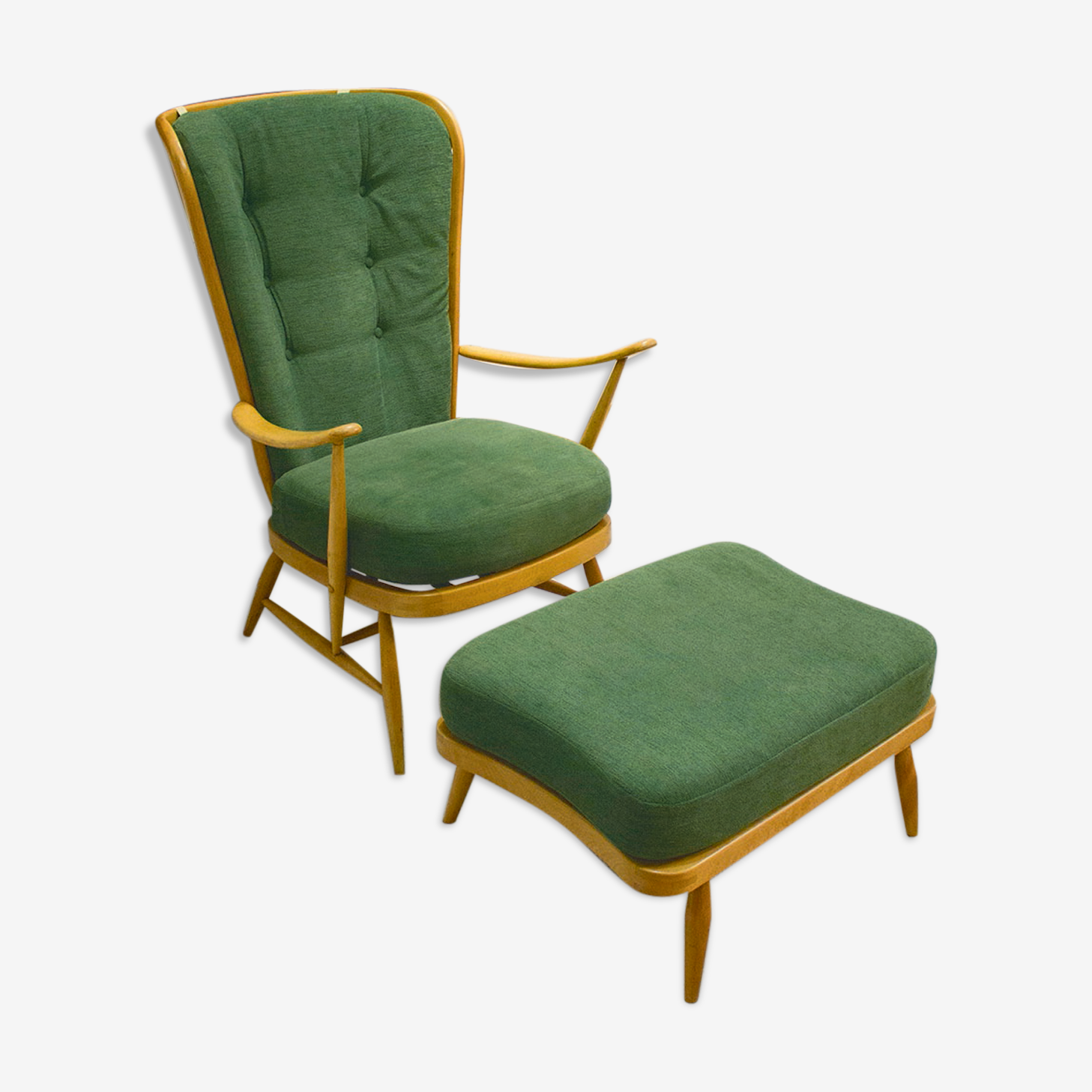 Armchair with ottoman Windsor 478 Lucian Ercolani for Ercol 1950