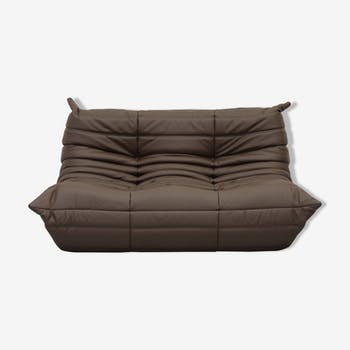Sofa 2 Seater Togo Camel Leather By Michel Ducaroy For Ligne Roset
