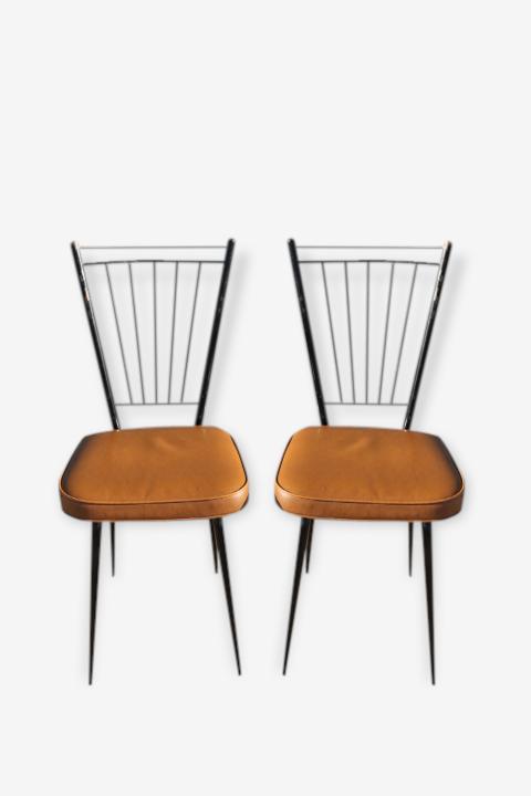 Deux chaises métal et cuir marron
