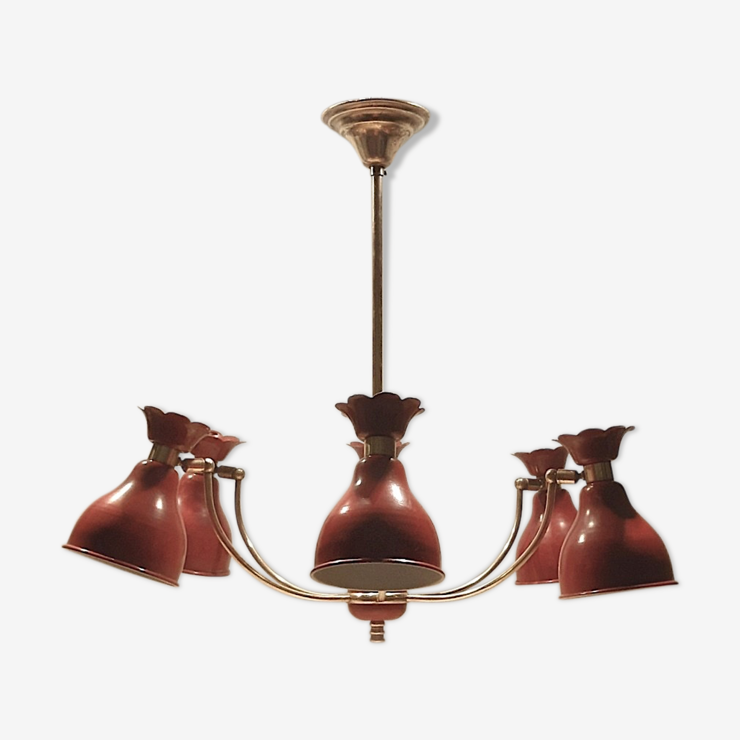 Chandelier 6 lights diffusers red & brass, 1950