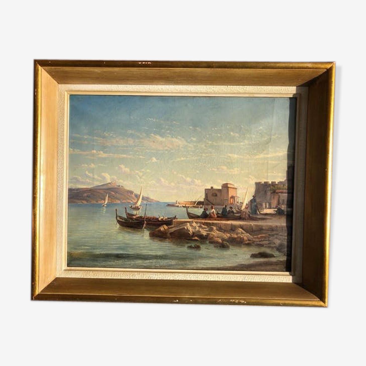 Peinture huile 19ème - marine, paysage, femmes sur des bateaux