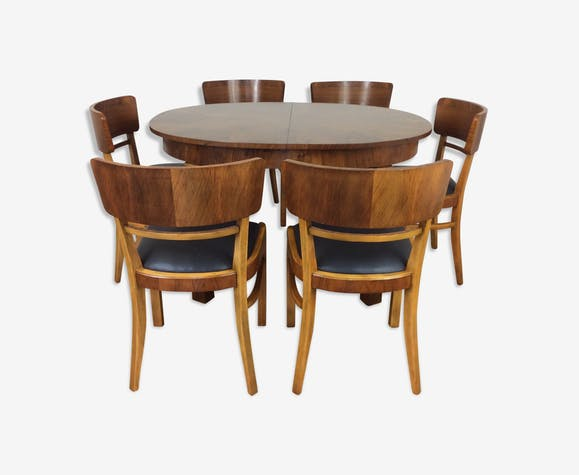 Art Deco Extendable Dining Table And Six Chairs By Jindrich Halabala Selency