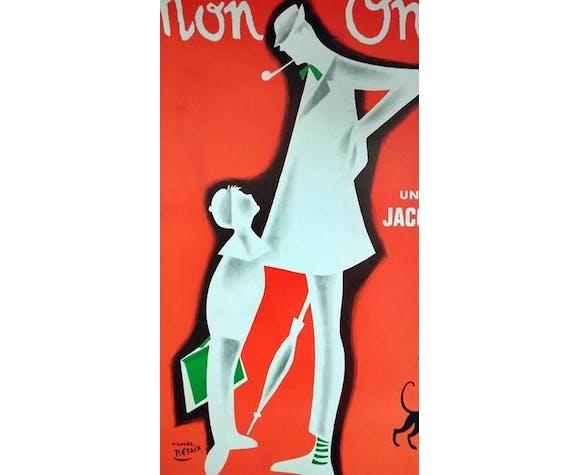 affiche vintage 1970 mon oncle Jacques tati 120x160 cm entoilée