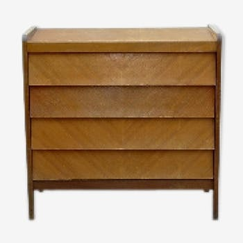 Chest of drawers without handles wood clear vintage 1950