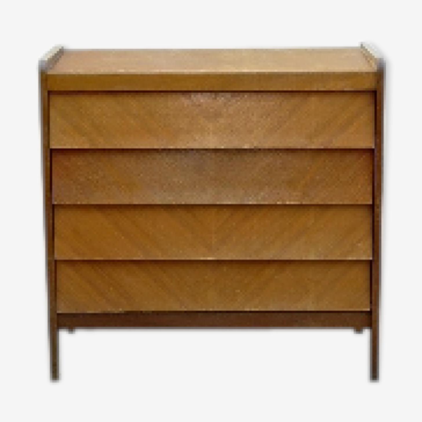 Commode sans poignées bois clair vintage 1950