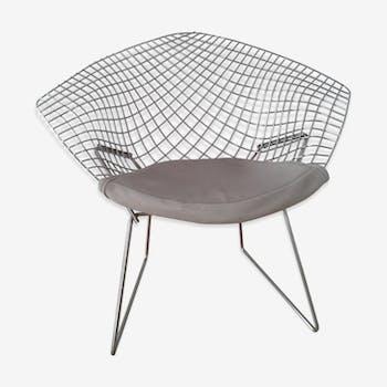 Diamond design chromed metal Chair Harry Bertoia Knoll early 1970s edition