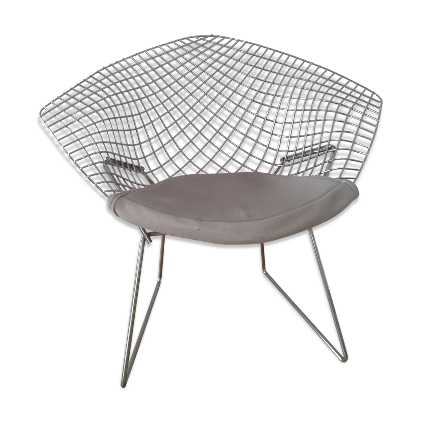 Fauteuil Diamond métal chromé design Harry Bertoia édition Knoll années 70