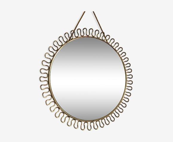 Miroir fleur en laiton doré vintage - 30cm