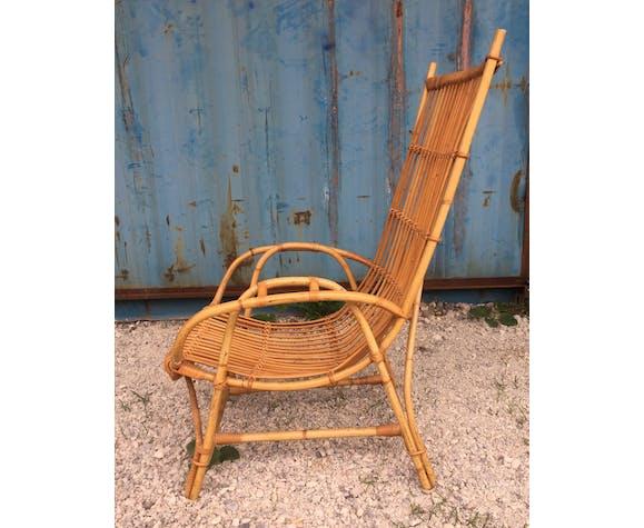Fauteuil en rotin assise basse