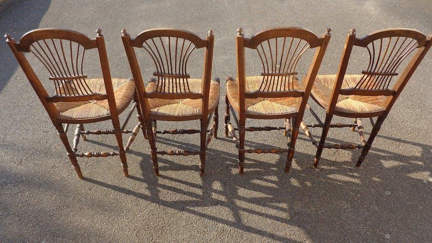 4 chaises cuisine paillée lyre