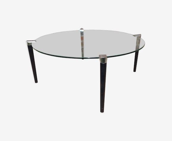 Table basse ronde 1960 plateau en verre pied en bois et ...