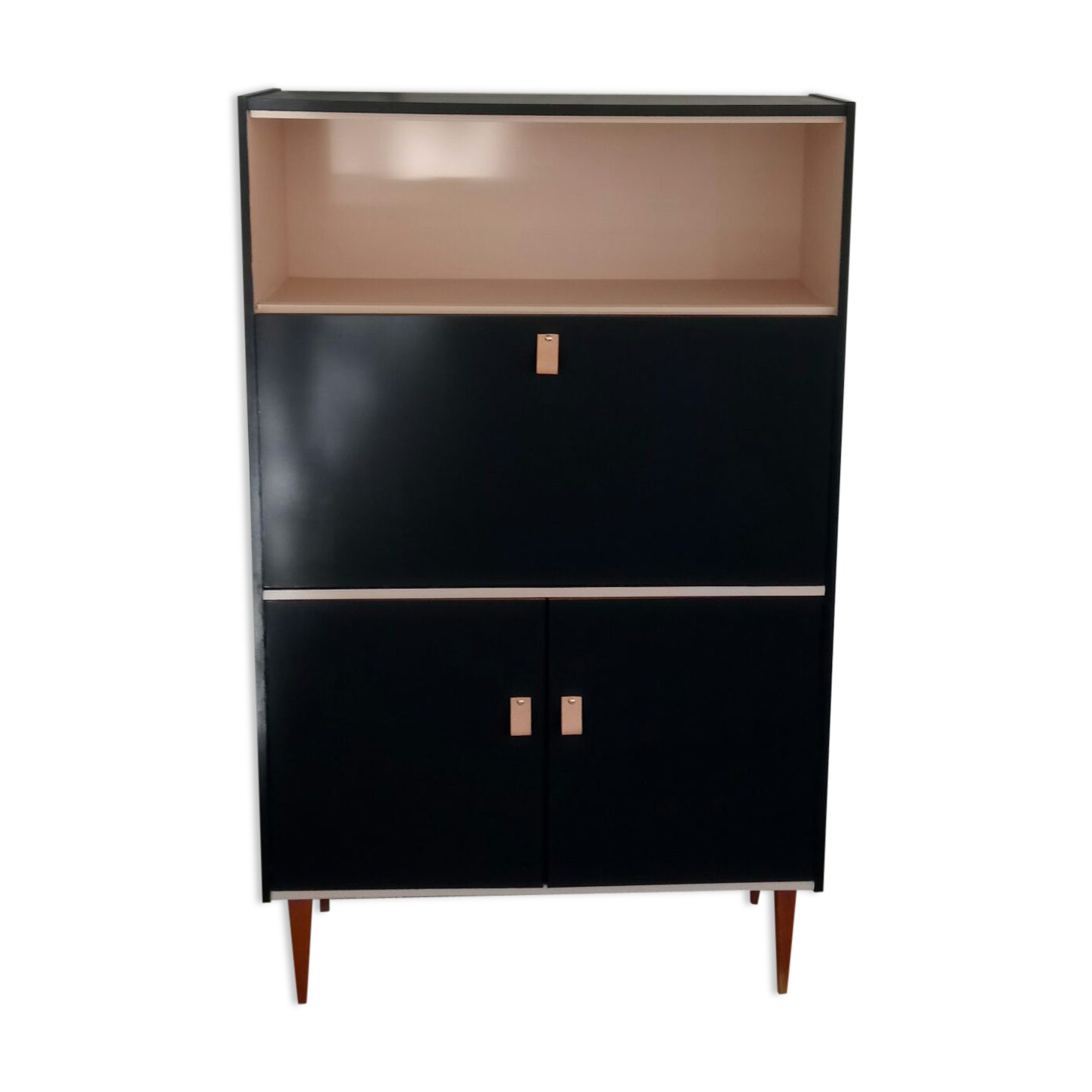 Renovated Office Vintage Secretary Wood Black Vintage 8xn5xsk Rh Selency Co  Uk Amish Furniture Secretary Desk