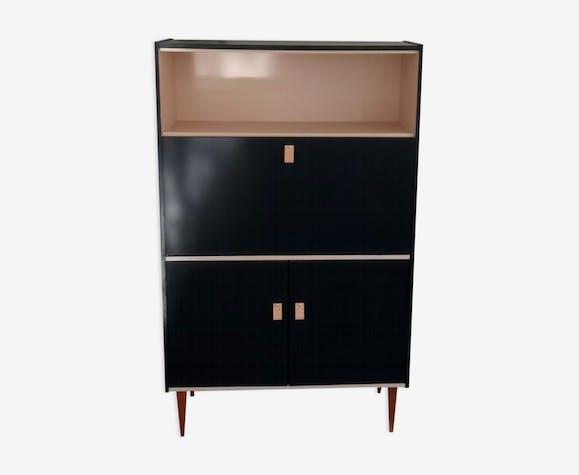 Secrétaire vintage bureau rénové bois matériau noir vintage
