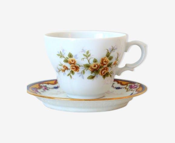 Tasse et soucoupe porcelaine dépareillées Limoges Bavière