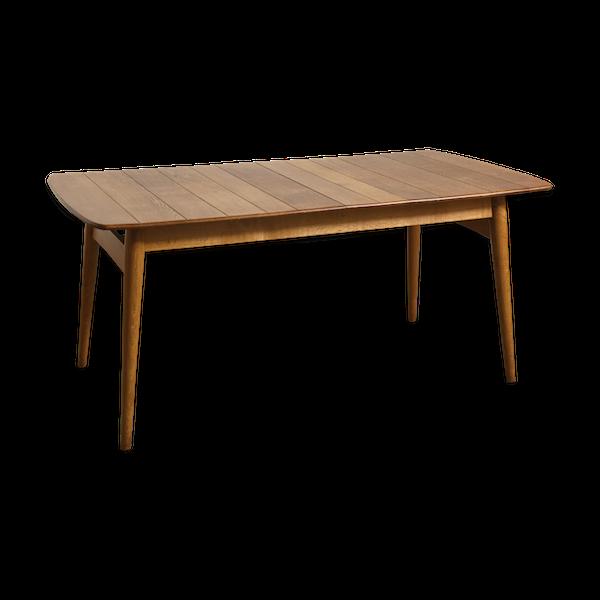 Table à manger solide teck rectangulaire haut fait au Danemark des années 1950