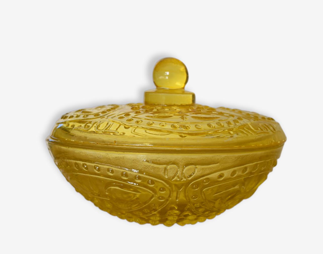 Bonbonnière en verre jaune