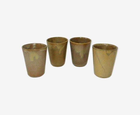Lot 4 glasses digoin vintage glazed stoneware 70/80