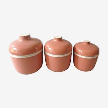 Set de 3 boites roses laquées par Chabrières et Cie des années 70