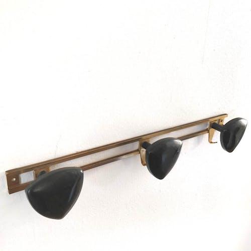 Gold and black metal coat rack 3 hooks