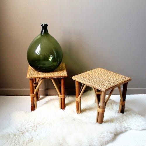 Pair of vintage rattan side tables