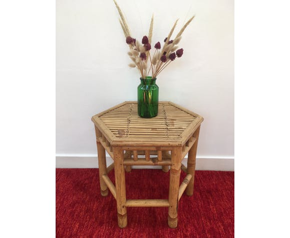 Hexagonal Coffee Table In Bamboo And Rattan Rattan And Wicker