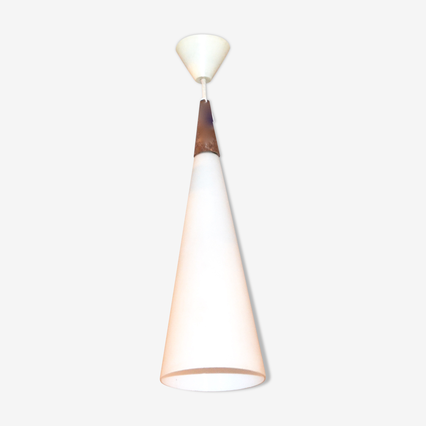 Philips in teak and opaline hanging lamp